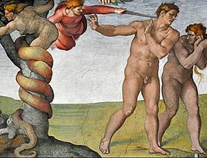 Michel Ange, Adam et Ève chassés du paradis, Chapelle Sixtine.