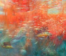 """Primal Source of Life~Krill with Fish & Whale"" 34"" x 40"" by David Gallup"