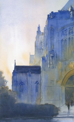 "Trinity ""In Saint Dominics [opposite; watercolor on paper, 18 x11], I showed only half of the church, creating a strong compositional triangle,"" says Reardon."