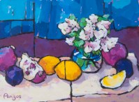 Angus_Wilson_Small_bouquet_&_lemons_over_blue