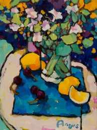 Angus_Wilson_Small_grouping_of_lemons_&_cherries_on_blue