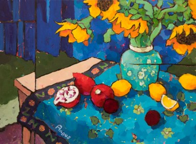 """Sunflowers and Pots on Peruvian Cloth"" by Angus Wilson"