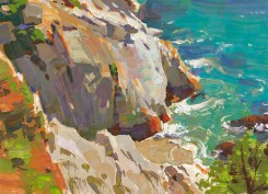 """""""Limestone Shores off China Cove"""" Gouache by Mike Hernandez"""