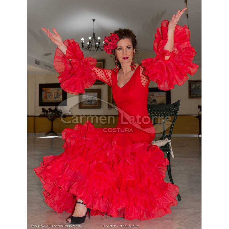 Rosa Traje de Flamenca para 2018 - Carmen LaTorre c74efc7bed3