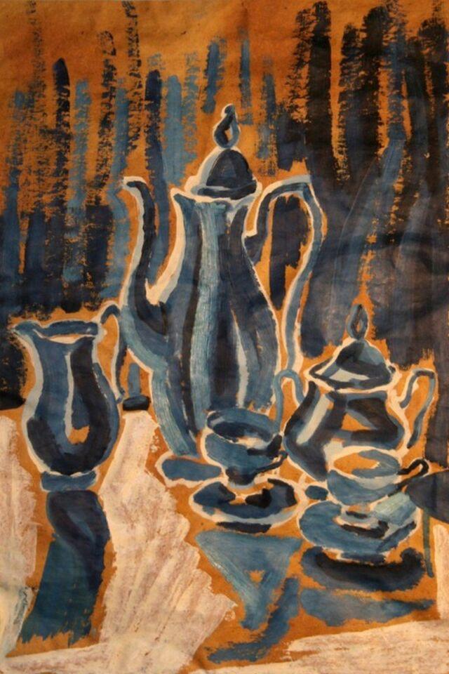 olio su carta da macellaio - 38 x 57 cm - 1963