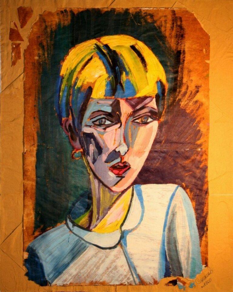olio su carta da macellaio - 35 x 50 cm - 1960