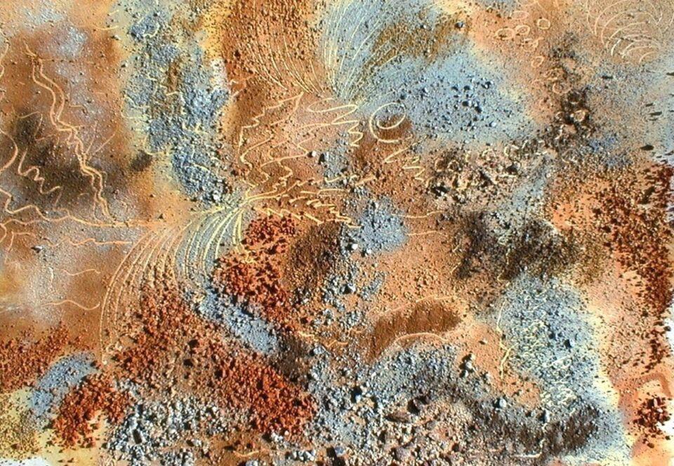 terre e resine naturali su cartoncino - 100 x 70 cm - 2000