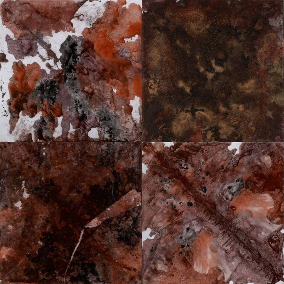 installazione di terre e resine naturali su carta su tela - 4 x 60 x 60 cm - 2008