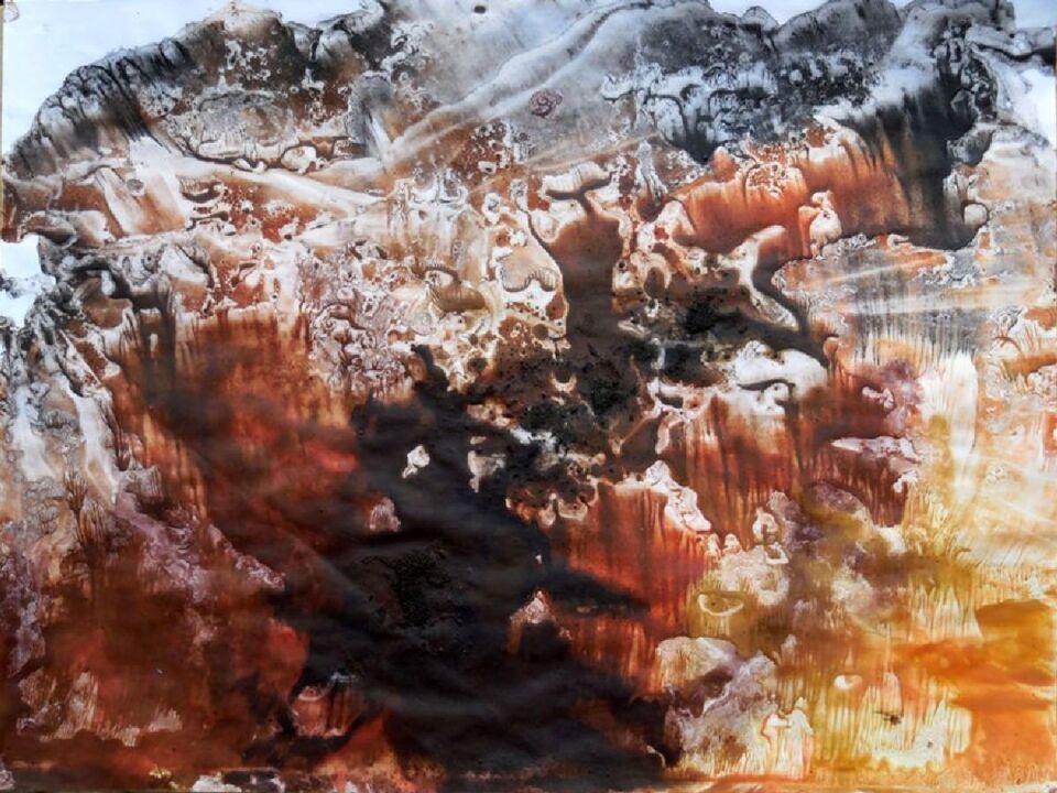 terre e resine naturali su carta intelata - 100 x 70 cm - 2015