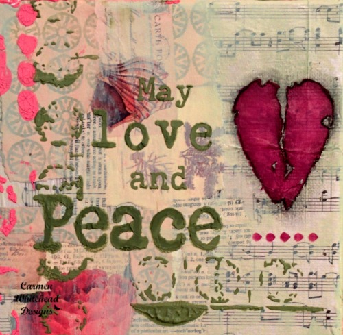 Love and Peace Canvas created by www.carmenwhitehead.com #breastcancerawarenessmonth