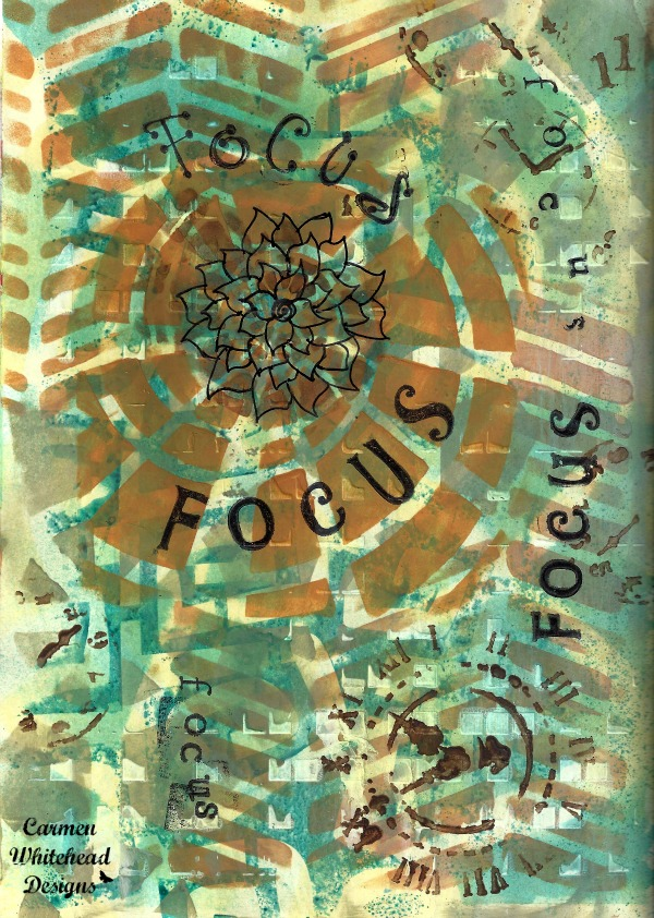 Focus is my word for 2016. Art journal page created by www.carmenwhitehead.com