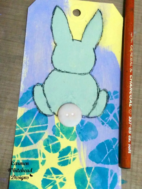 Easter Bunny Tag created with The Crafter's Workshop stencils by www.carmenwhitehead.com