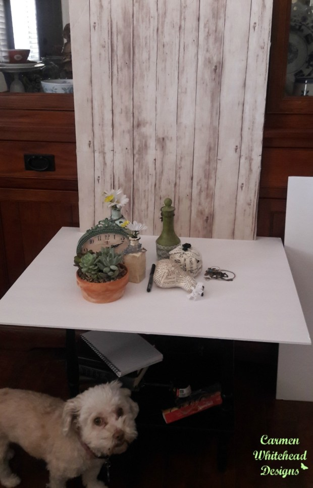 Photography set up for Etsy products - Carmen Whitehead Designs