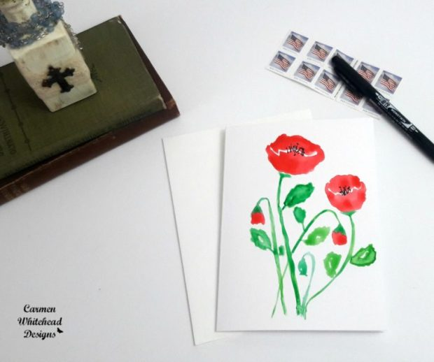 Original watercolor cards created by Carmen Whitehead Designs