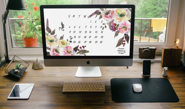 June desktop calendar from Carmen Whitehead Designs