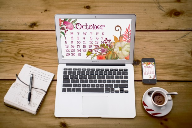 October 2017 desktop and mobile calendar by Carmen Whitehead Designs