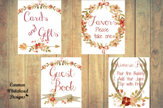 Seasonal Wedding and Bridal Shower signs - Carmen Whitehead Designs