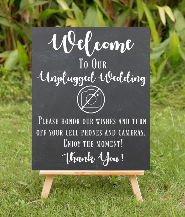 Unplugged sign for your wedding ceremony.  Carmen Whitehead Designs on Etsy.