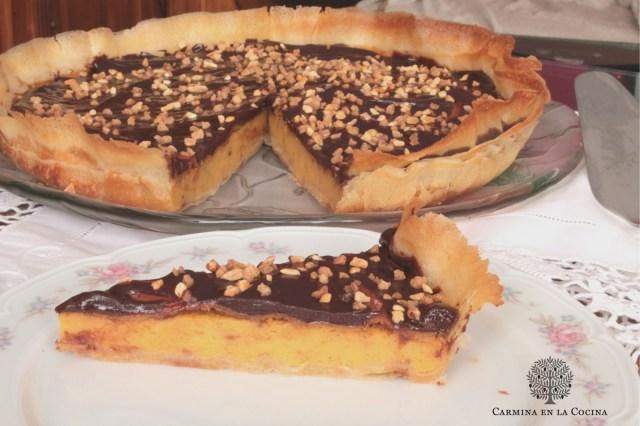 Tarta de calabaza y chocolate