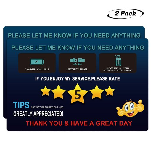 Uber Lyft Tips Rating Appreciated Rideshare Driver Signs,9x6 Inch Premium Thick Laminate 30 Mil Durable Backseat Headrest Display Card (Pack of 2)