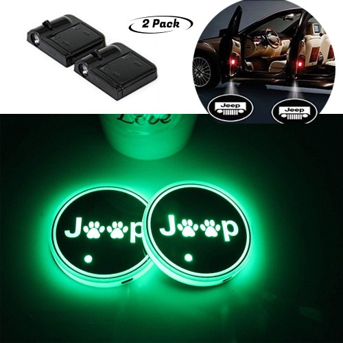 Cup Holder Lights for Jeep , And Car Door Welcome Projector is wireless especially designed for auto modification fancier and it will not destroy the original car appearance bring more driving fun to drivers.