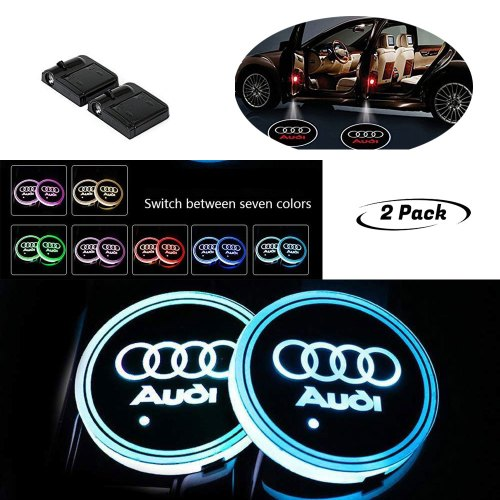 Cup Holder Lights for Audi, And Car Door Welcome Projector is wireless especially designed for auto modification fancier and it will not destroy the original car appearance bring more driving fun to drivers.