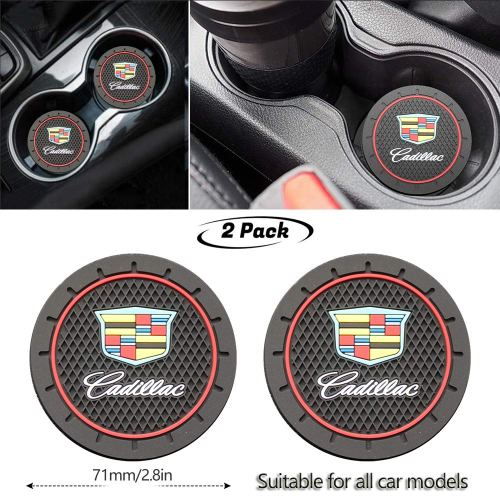 2Pcs Durable Non-Slip Silicone Cadillac Logo Cup Holder mat,Auto Cup Holder Insert Coaster pad for Cadillac