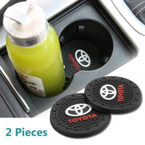 Auto sport 2.75 Inch Diameter Oval Tough Car Logo Vehicle Travel Auto Cup Holder Insert Coaster Can 2 Pcs Pack Fit Toyota Accessory