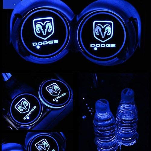 2pcs LED Car Cup Holder Lights,Car Logo Luminescent Pad LED Interior Atmosphere Lamp with 7 Colors Changing and USB Charging for Dodge