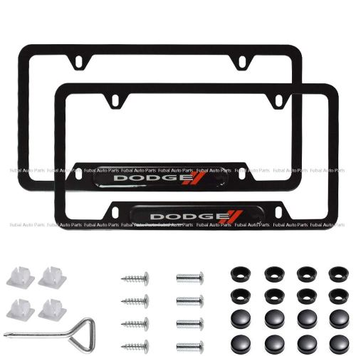 2pcs Stainless Steel License Frame with for Dodge,with Screw Caps Cover Set-Black (Dodge)