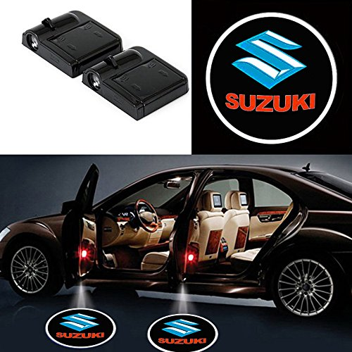 2 Pcs Wireless Car Door Led Welcome Laser Projector Suzuki Light Ghost Shadow Light Lamp Logos