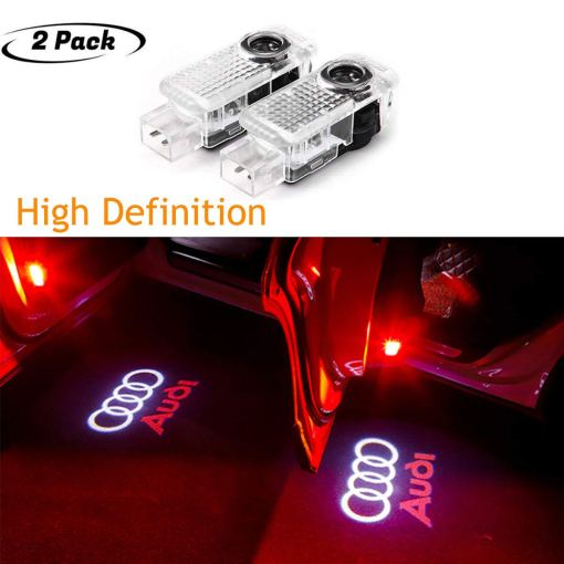 Led Audi Car Door Lights with Car Logo Projector Lights, 2 Pcs Wireless Car Door Led Welcome Laser Projector for A1, A3-A8, Q3,Q7,S3-S8,R8,TT