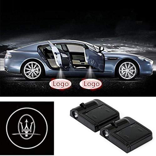 2 Pcs Wireless Car Door Led Welcome Laser Projector Maserati Light Ghost Shadow Light Lamp Logos