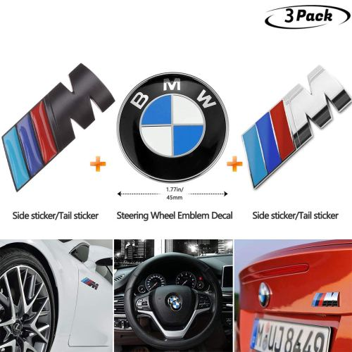 3-Pieces, DIY Decoration Combination for BMW Steering Wheel Emblem Decal, for BMW M Emblem Badge Sticker Motorsport Power(Black,Silver)