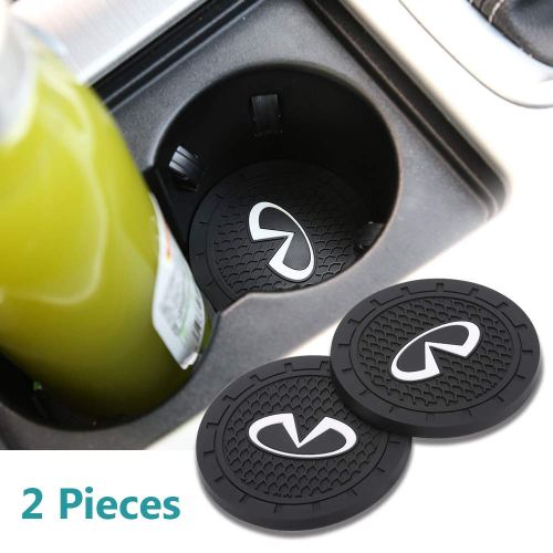 Auto sport 2.75 Inch Diameter Oval Tough Car Logo Vehicle Travel Auto Cup Holder Insert Coaster Can 2 Pcs Pack Fit Infiniti Accessory