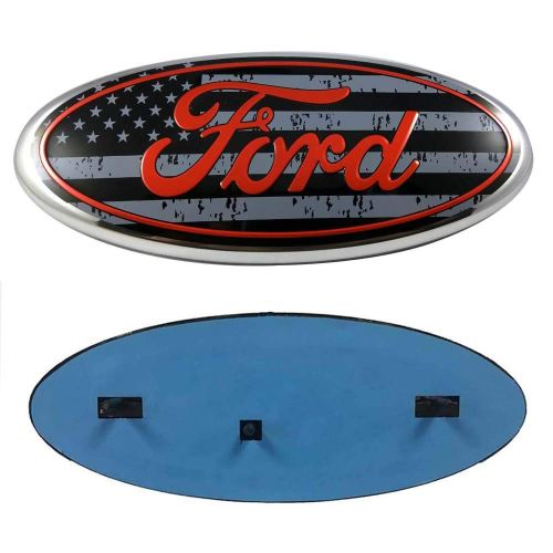 "2004-2014 F150 Front Grille Tailgate Emblem Compatible With Ford, Oval 9""X3.5"", American Flag Decal Badge Nameplate Also Fits for 04-14 F250 F350"