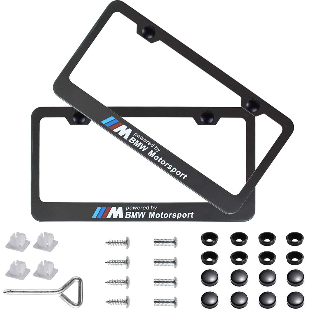 Fiat ABARTH LASER Style Black Stainless Steel License Plate Frame W// Caps