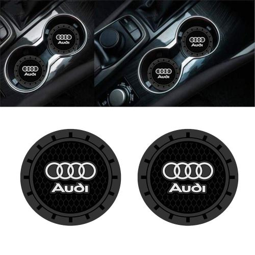 Auto sport 2.75 Inch Diameter Oval Tough Car Logo Vehicle Travel Auto Cup Holder Insert Coaster Can 2 Pcs Pack (Audi)