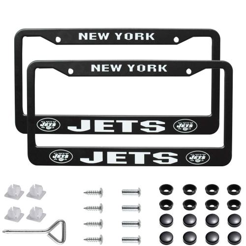 2Pcs 2 Holes Black Licenses Plates Frames for New York Jet, Car Licenses Plate Covers Holders for US Vehicles(New York Jets)