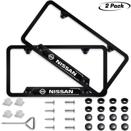 2pcs for Nissan License Plate Frame 3D Polyurethane Logo Matte Aluminum License Plate,with Screw Caps, Black Nissan Logo License Plate Covers