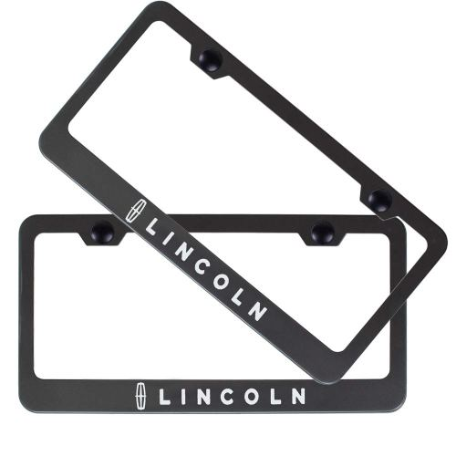 2pcs Stainless Steel License for Lincoln, Plate Frame with Screw Caps Cover Set, Matte Black