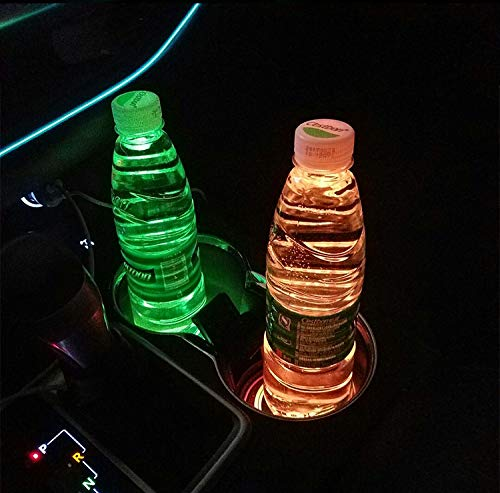 2pcs LED Car Cup Holder Lights, 7 Colors Changing USB Charging Mat Luminescent Cup Pad, LED Interior Atmosphere Lamp