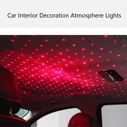 Romantic Red Car Roof Star Projector Lights, Flexible Romantic Galaxy USB Charging Night Lamp,Fit All Cars Ceiling Decoration Light Interior Ambient A