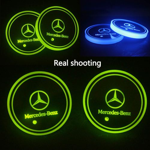 2pcs LED Car Mercedes Benz Cup Holder Lights,7 Colors Changing USB Charging Mat Luminescent Cup Pad, LED Interior Atmosphere Lamp