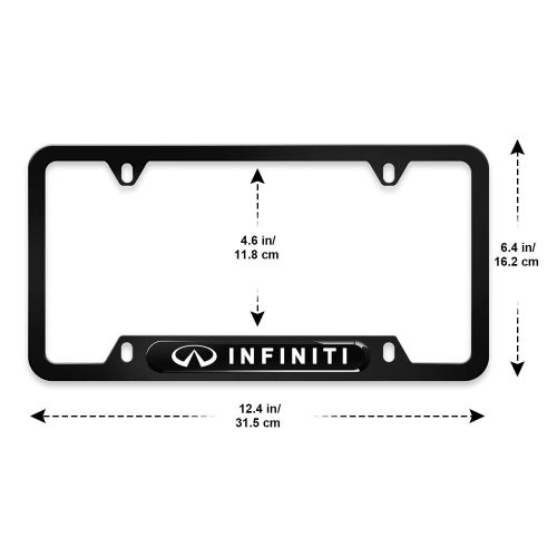 2pcs for Infiniti License Plate Frame 3D Polyurethane Logo Matte Aluminum License Plate,with Screw Caps, Infiniti Logo License Plate Covers Fit Infini