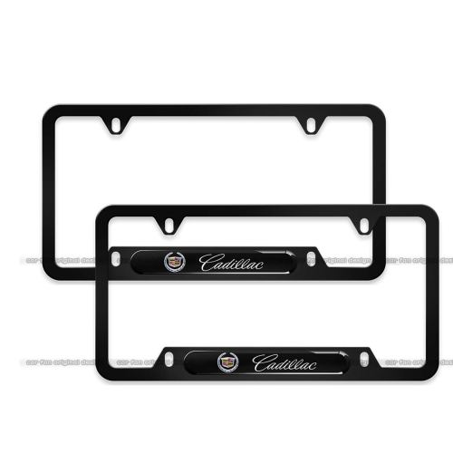 2-Pieces Cadillac License Plate Frame,Logo Before and After High-Grade Stainless Steel Resin Logo License Plate Frame for Cadillac
