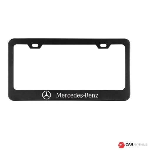 2pcs Newest Matte Aluminum Alloy Mercedes License Plate Frame,with Screw Caps Cover Set Suit,Applicable to US Standard car License Frame for Mercede Benz