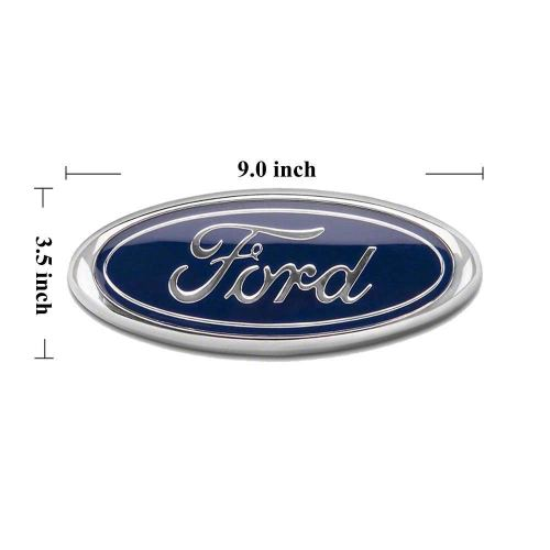 "2004-2014 Ford F150 Front Grille Tailgate Emblem, Oval 9""X3.5"", Dark Blue Decal Badge Nameplate Also Fits for 04-14 F250 F350, 11-14 Edge, 11-16 Explo"