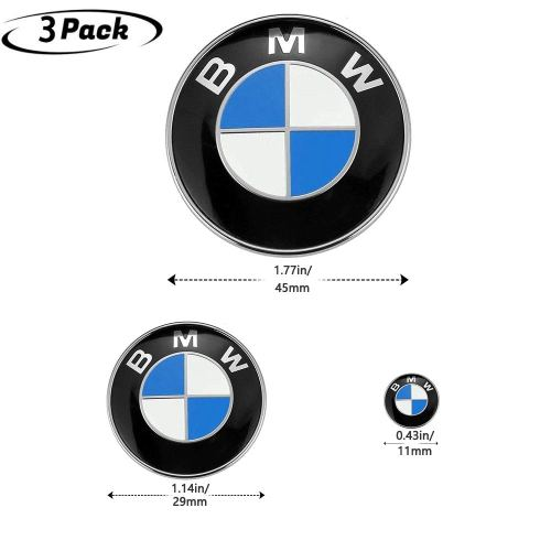 3Piece DIY BMW Steering Wheel Emblem Decal, BMW Multimedia Center Button iDrive Controller Decal, BMW Radio Button Decal, for BMW Decoration Combinati