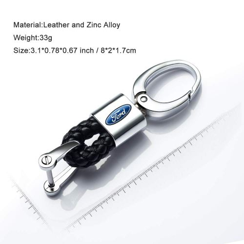 2Pack Genuine Leather Car Key Chain Suit for Ford Explorer F150 Powerstroke Keychain Keyring